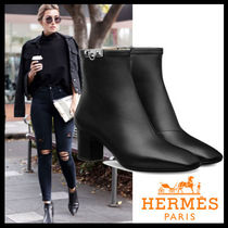 HERMES Square Toe Plain Leather Block Heels Elegant Style