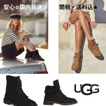 UGG Australia Round Toe Lace-up Casual Style Fur Plain Lace-up Boots