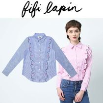 FIFI LAPIN Stripes Long Sleeves Cotton Medium Shirts & Blouses