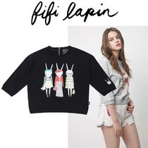 FIFI LAPIN Crew Neck Short Cropped Other Animal Patterns Cotton
