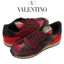 VALENTINO Camouflage Round Toe Casual Style Leather Low-Top Sneakers