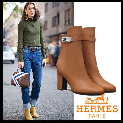 buy online 33d46 a58dd HERMES Kelly 2017-18AW Round Toe Plain Leather Block Heels ...