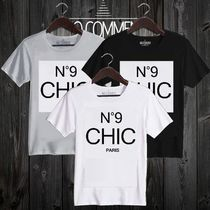 NO COMMENT PARIS Unisex V-Neck Cotton Short Sleeves V-Neck T-Shirts