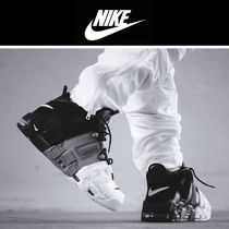 Nike AIR MORE UPTEMPO Stripes Faux Fur Street Style Sneakers