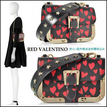 RED VALENTINO Heart Casual Style Studded Leather Shoulder Bags