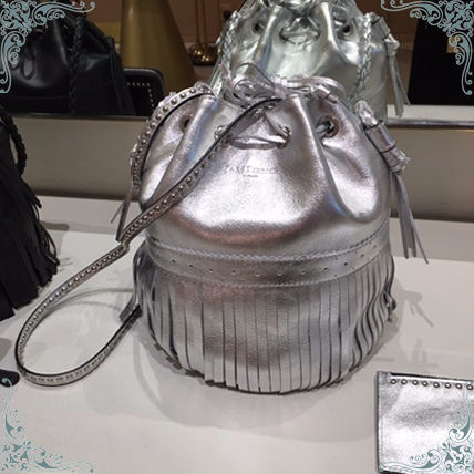 Metallic Silver Leather Shoulder Bags with Studs