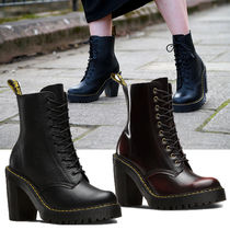 Dr Martens Lace-up Casual Style Unisex Plain Leather Block Heels