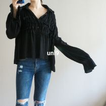 Plain Super-long Sleeves Shirts & Blouses