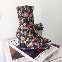 ZARA Flower Patterns Pin Heels Party Style Ankle & Booties Boots