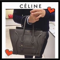 CELINE Luggage Casual Style Unisex Calfskin A4 Plain Totes