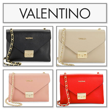 VALENTINO Leather Elegant Style Shoulder Bags