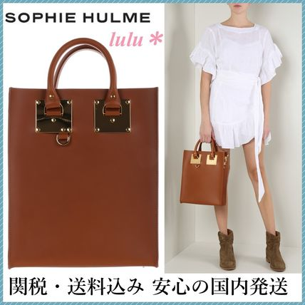 SOPHIE HULME A4 2WAY Plain Leather Elegant Style Totes