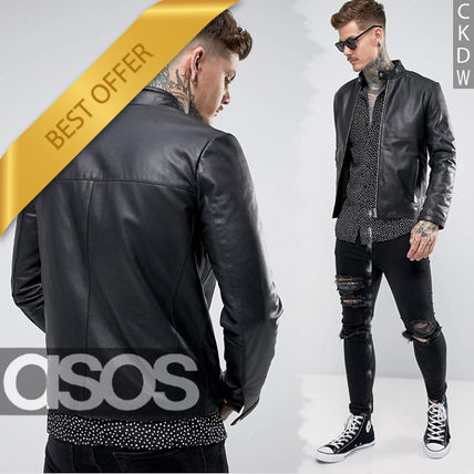 Send leather single racing by car jacket