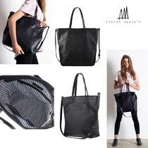STATUS ANXIETY Casual Style Unisex A4 Leather Totes
