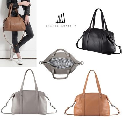 A4 2WAY Plain Leather Totes