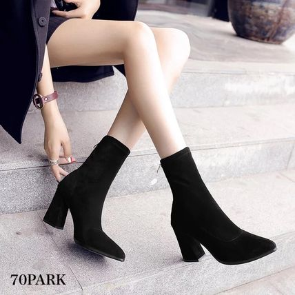 Ankle & Booties Casual Style Suede Street Style Plain Chunky Heels 6