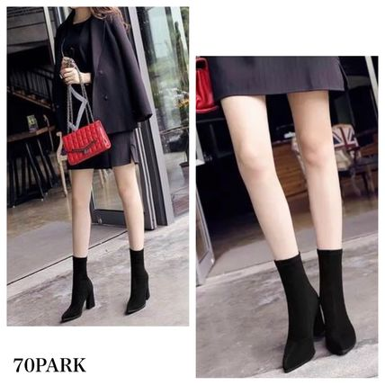 Ankle & Booties Casual Style Suede Street Style Plain Chunky Heels 7