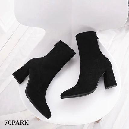 Ankle & Booties Casual Style Suede Street Style Plain Chunky Heels 14