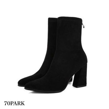 Ankle & Booties Casual Style Suede Street Style Plain Chunky Heels 15