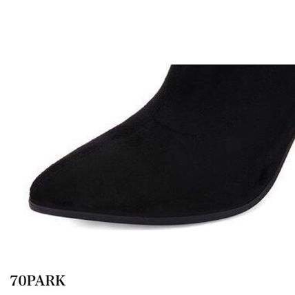 Ankle & Booties Casual Style Suede Street Style Plain Chunky Heels 18