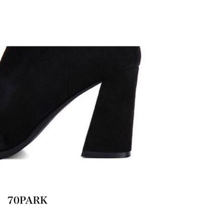 Ankle & Booties Casual Style Suede Street Style Plain Chunky Heels 19