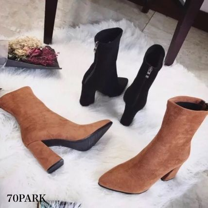 Ankle & Booties Casual Style Suede Street Style Plain Chunky Heels 3