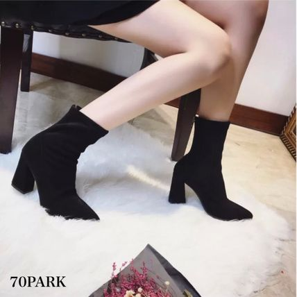 Ankle & Booties Casual Style Suede Street Style Plain Chunky Heels 5