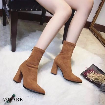 Ankle & Booties Casual Style Suede Street Style Plain Chunky Heels 8