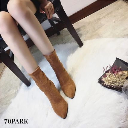 Ankle & Booties Casual Style Suede Street Style Plain Chunky Heels 9