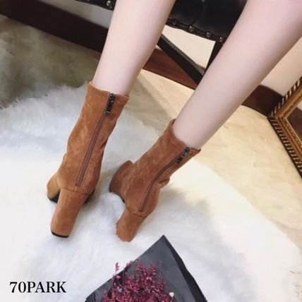 Ankle & Booties Casual Style Suede Street Style Plain Chunky Heels 10