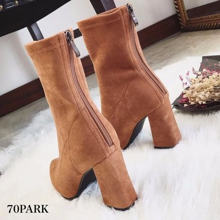 Ankle & Booties Casual Style Suede Street Style Plain Chunky Heels 12