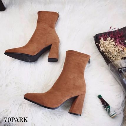 Ankle & Booties Casual Style Suede Street Style Plain Chunky Heels 13