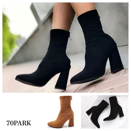 Casual Style Suede Street Style Plain Chunky Heels