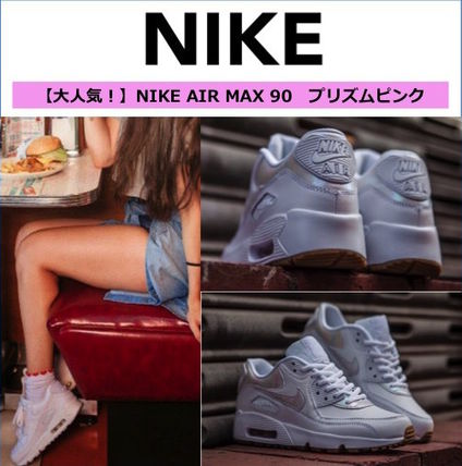 Nike AIR MAX 90 Monoglam Casual Style Leather Low-Top Sneakers