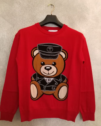 The last long-sleeved knit sweater Teddy bear Red