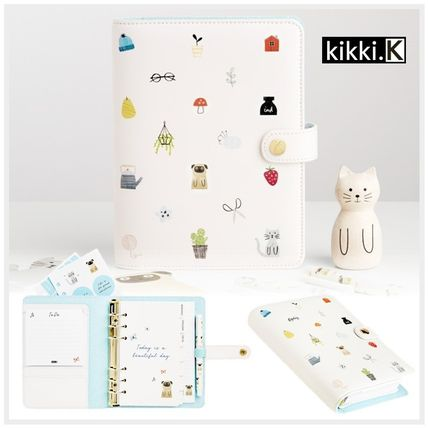 Cute leather notebook white M