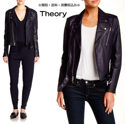 Theory Short Casual Style Plain Leather Biker Jackets