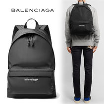 BALENCIAGA Unisex Nylon Plain Backpacks
