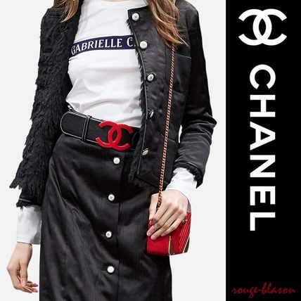 17-18 AW RUNWAY leather belt black red
