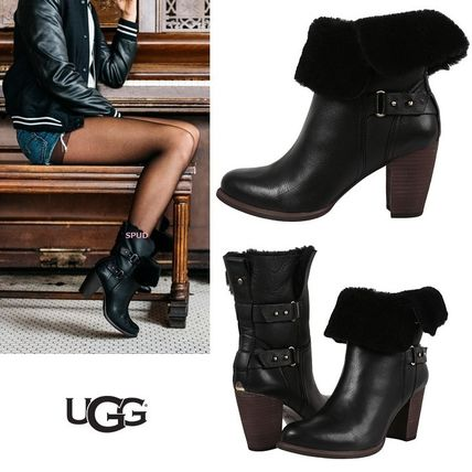 UGG Australia Plain Toe Plain Leather Block Heels High Heel Boots