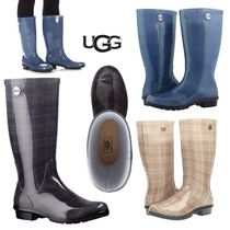 UGG Australia SHAYE Tartan Plain Toe Rubber Sole Casual Style PVC Clothing