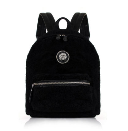 VERSUS Silver Lion black Shearling backpack