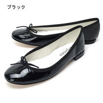 repetto Round Toe Casual Style Plain Leather Block Heels
