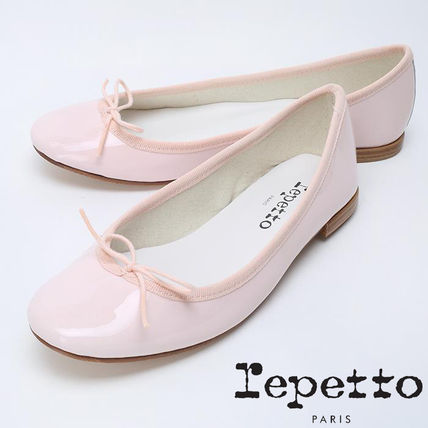 Round Toe Plain Leather Block Heels Party Style Ballet Shoes