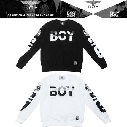 Studded U-Neck Long Sleeves Cotton Logos on the Sleeves