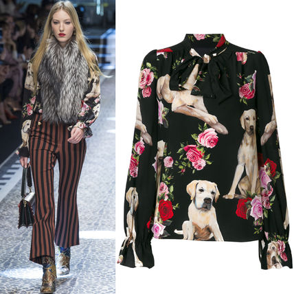 17-18 AW DG 1255 LO 63 DOGS and FLORAL PRINTED SILK BLOUSE
