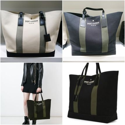 Saint Laurent Cambus Blended Fabrics A4 2WAY Plain Totes
