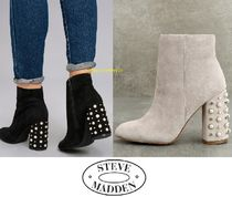 Steve Madden Round Toe Casual Style Suede Street Style Plain Block Heels