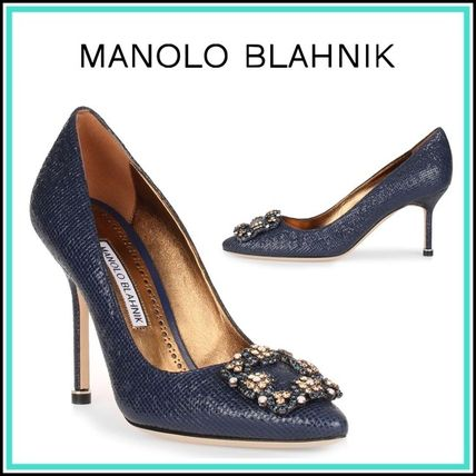 Plain Leather Pin Heels With Jewels Python Elegant Style