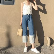 Casual Style Denim Street Style Bi-color Plain Medium